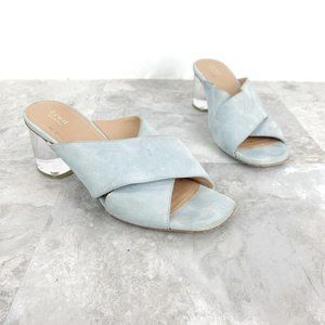 Lewit Light Blue Sabina Lucite Heel Mule Sz 37